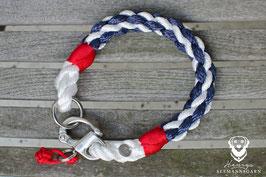 Halsung, 10mm Tau, weiß/marineblau/rot