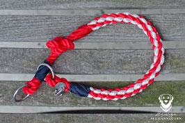 Zughalsung, 8mm Tau, rot/weiß/marineblau