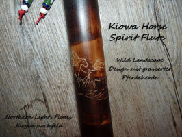 Kiowa Horse Spirit Flute in G - Wild Landscape Design and Carved
