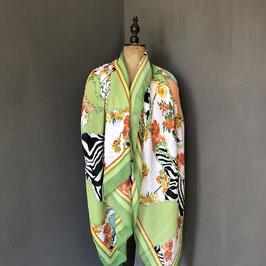 Sjaal | Print met bloem en zebra