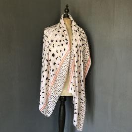 Sjaal | Panterprint in roze met oranje detail