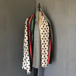 Sjaal |  Stippen beige met rood detail