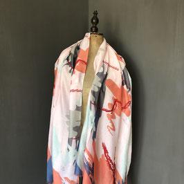 Sjaal |  Design in roze met blauw en grijs