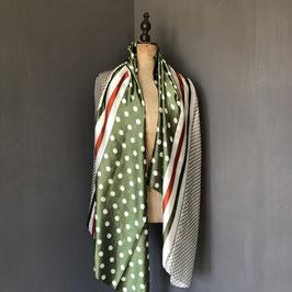 Sjaal |  Stippen groen met rood detail