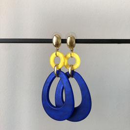 Resin oorbellen | Blauw geel met gouden steker