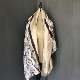 Sjaal | Slangenprint in beige met bruin