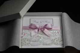 Einladungskarte Hochzeit - Pailletten Spitzenband