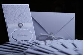 Einladungskarte Hochzeit Strasssteinverzierung Rechteck