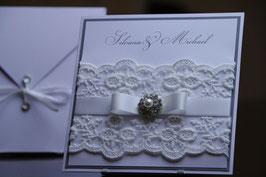 Einladungskarte Hochzeit Spitzenband Silvana & Michael