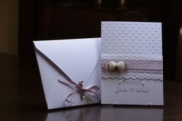 Einladungskarte Hochzeit Schleifenbrosche, Spitzenband, Spitze, Edel