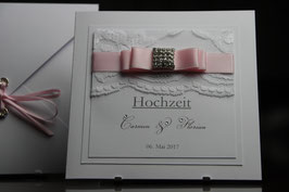 Einladungskarte Hochzeit Rosa Edel Carmen