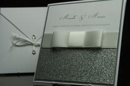 Einladungskarte Hochzeit Glitter Silber - Mariella
