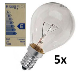 Glühlampe 25W - Set beinhaltet 5 Stück - Energieklasse E