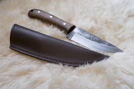 Messer mit Walnussholzgriff und Lederscheide