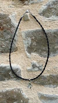 Ras du cou en crins de cheval noirs, pendentif argent 925 cheval avec zircon transparent