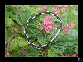 """Bracelet en crins de cheval, tressé """"en corde"""" à 4 brins, 3 couleurs séparées"""