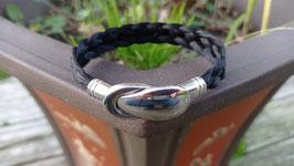 """Bracelet en crins de cheval noirs, tresse plate à 5 brins, fermoir aimanté """"cuillère"""" en acier inoxydable"""