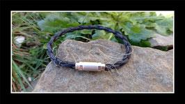 Bracelet en crins de cheval noir, tressés en corde à 4 brins, fermoir aimanté en acier inoxydable