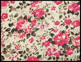 Tissu fleurs roses foncées en coton taupe clair 50 x 45 cm - Coupon T52