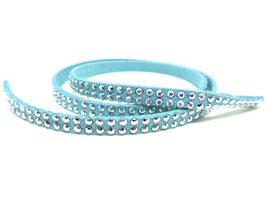 50 cm de cordon suédine bleu strass argentés 5 mm