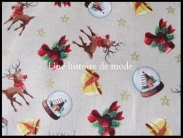 Tissu de Noël en coton -  50 x 45 cm - Coupon T79