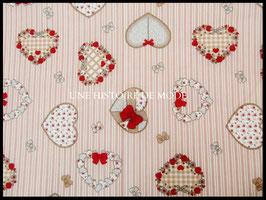 Tissu rayé avec des coeurs  - 50 x 45 cm - coupon réf T14