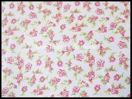 Tissu coton à petites fleurs roses  - 50 x 45 cm - Coupon T90