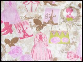 Tissu vintage en coton écru motif Mademoiselle de Paris 50 x 45 cm - T10