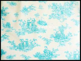 Tissu Vintage effet toile de Jouy vert d'eau et blanc en coton 60 x 45 cm - Coupon T47