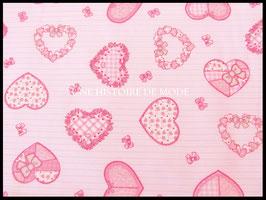 Tissu coeurs en coton rayé rose et blanc 50 x 45 cm - T33