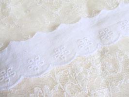 1 mètre de ruban dentelle broderie anglaise blanche - 35 mm