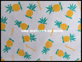 Tissu ananas en coton et lin -  50 x 45 cm