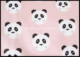 Tissu panda en coton rose  - 50 x 45 cm - T84