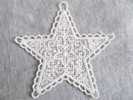 Applique en dentelle étoile blanche - 80 mm