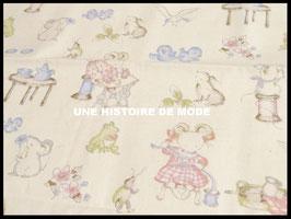 Tissu petites souris en coton écru - 50 x 45 cm - Coupon T34