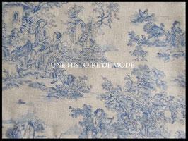 Tissu vintage  effet toile de Jouy gris et bleu en coton -  50 x 45 cm - Coupon T66
