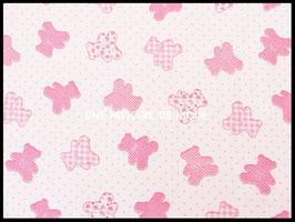 Tissu enfant oursons roses en coton blanc - 50 x 45 cm - T76