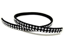 50 cm de cordon suédine noir strass argentés  5 mm