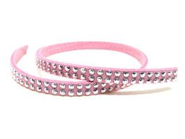50 cm de cordon suédine rose à strass argentés - 5 mm