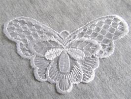 Applique papillon blanc en dentelle - 97 x 60 mm - XX004