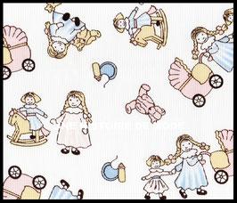 Tissu en coton piqué blanc motifs petites filles 50 x 45 cm - coupon T11