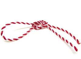 1 mètre de cordon torsadé rouge et blanc 3mm
