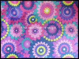 Tissu rosaces en coton multicolores 50 x 45 cm - Coupon T31
