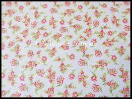 Tissu coton à petites fleurs rouges  - 50 x 45 cm - Coupon T88