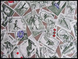 Tissu vintage en coton taupe motifs timbres sportifs -  50 x 45 cm - Coupon T72