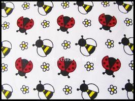 Tissu coccinelle et abeille en coton blanc - 50 x 45 cm - Coupon T83
