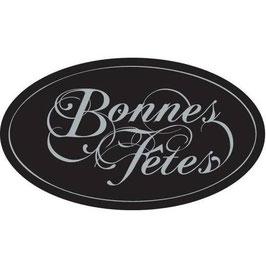 """10 étiquettes ovales noir écrit """" BONNES FETES """" en gris argenté 40 x 23 mm"""