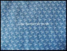 Tissu ciseaux en jean's bleu  - 50 x 45 cm - Coupon T86
