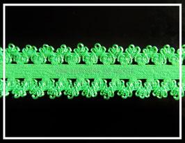 Ruban élastique dentelle vert de 20 mm de largeur