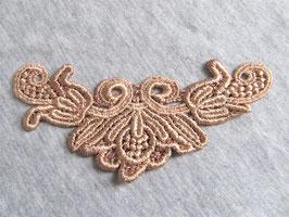 Applique en dentelle taupe / doré - 50 x 115 mm - XX009
